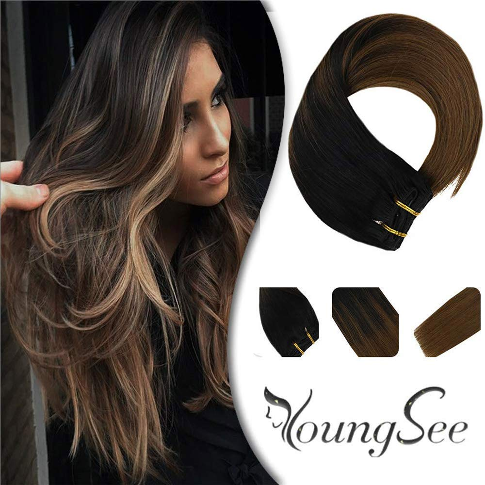 Youngsee 22inch Clip in Extensions Remy Human Hair Balayage Natural Black Fading to Medium Brown Full Set Clips 100% Natural Human Hair Clip in Extensions 7pcs 120g/set by YoungSee