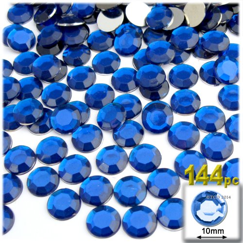 The Crafts Outlet 144-Piece Flat Back Round Rhinestones, 10mm, Royal Blue