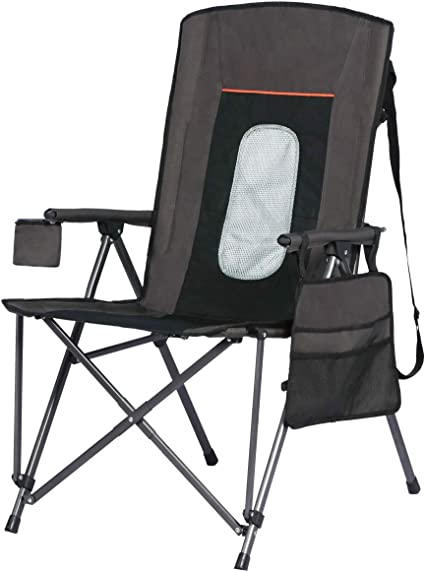 Portal Outdoor Portable Folding Camping Directors Chair with Side Table Black