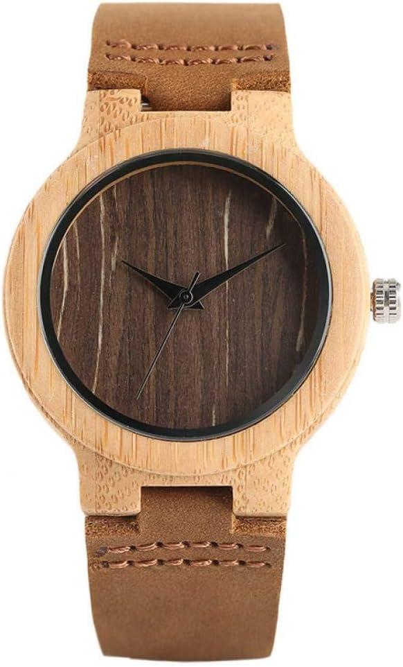 WRENDYY Reloj de Madera Bamboo Wood Ladies Relojes Analog Leather Band Creative Nature Wooden Watch Women Sport Reloj de Pulsera Regalo para Mujeres