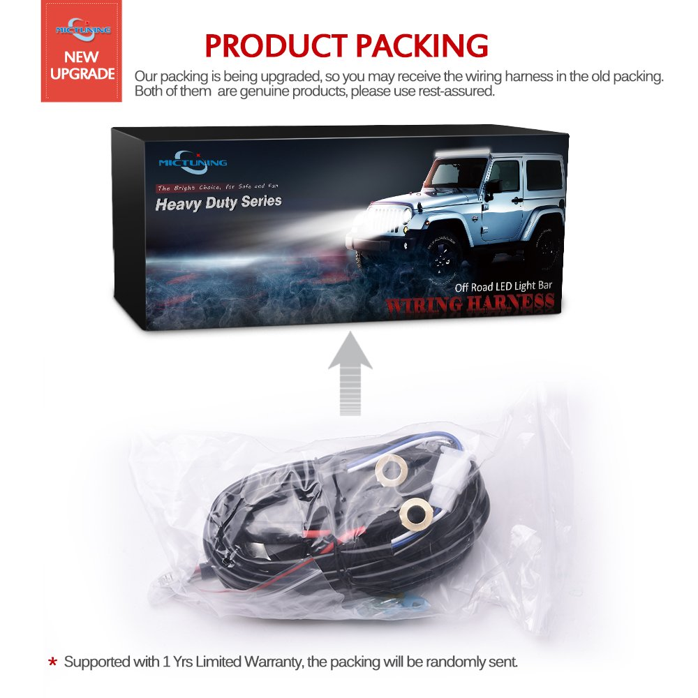 Mictuning Hd 300w Led Light Bar Wiring Harness Fuse 40amp Relay On 40 Amp Kit Off Switch Waterproof 2lead H606011