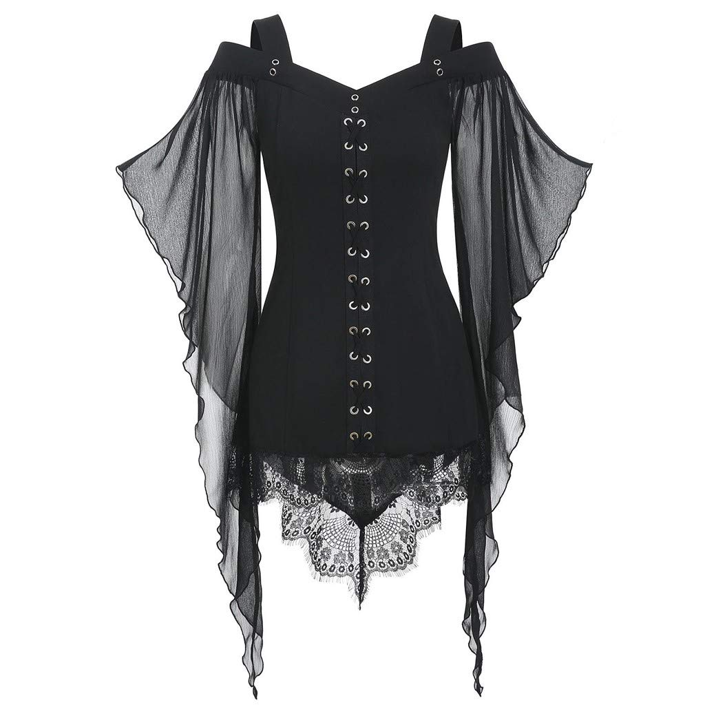 MIS1950s Nightmare Before Christmas,Womens Gothic Criss Cross Lace Witch Dress Butterfly Sleeve T-Shirt Tops