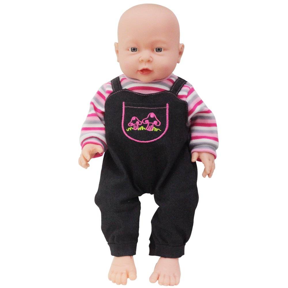 Rifi High Simulation Baby Dolls Clothes Denim Pants Red Stripes 14 to 16 inches Dolls RICHFREE