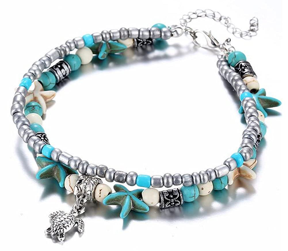 JJWW Summer Travel Jewelry, Conch Starfish Beads Turtle Pendant Beach Anklet Bracelet