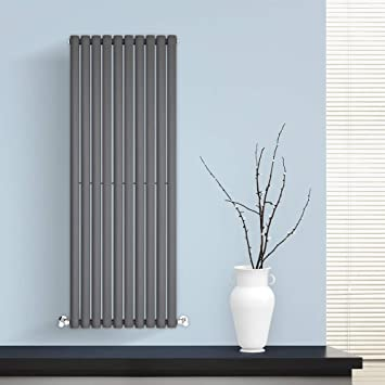 BestBathrooms Design-Heizkörper Vertikal Anthrazit - 1400 x 590 mm -  Premium Paneelheizkörper für Zentralheizung - Einlagig - Perfekt für Küche,  Bad & ...