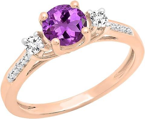 Dazzlingrock Collection 10K 9X7 MM Oval Gemstone /& Round White Diamond Ladies Bridal Engagement Ring Rose Gold