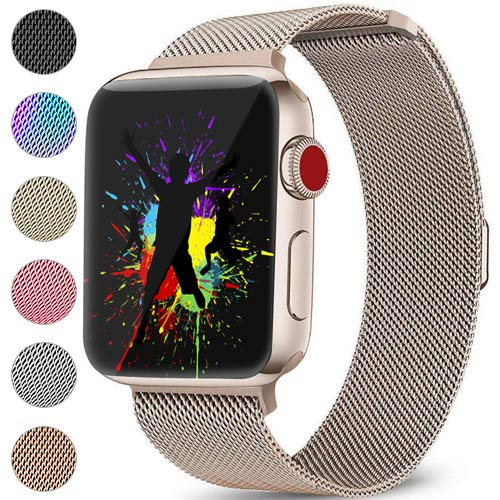 DaQin Bands Compatible with Apple Watch Band 42mm 44mm for Women and Men, Milanese Metal Magnetic Mesh Loop Wristbands for Apple iWatch Series 4 Series 3/2/1, Champagne