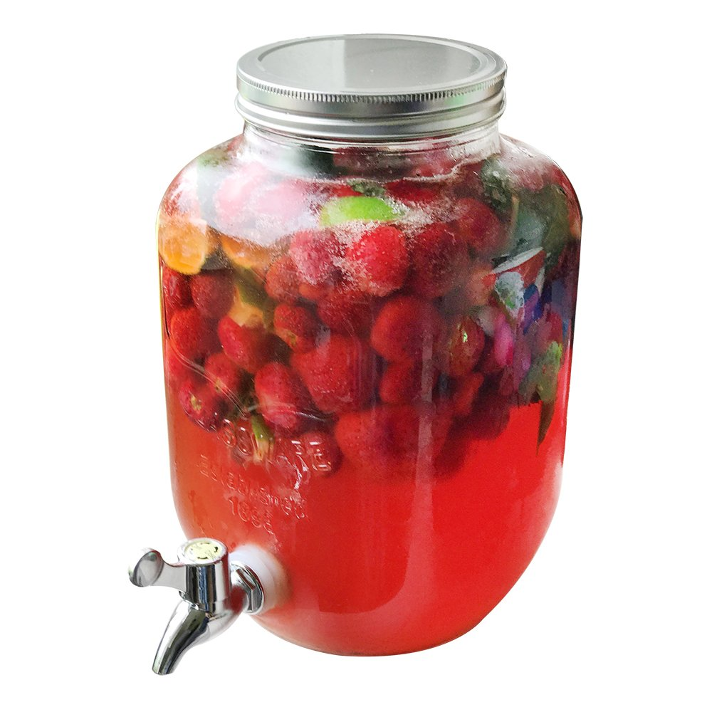 01 Piece - 3.5 liters Drink Dispenser Made of Glass in Mason jar Design with spout COM-FOUR/® Water and Juice Dispenser with Screw Cap for up to 3.5 L