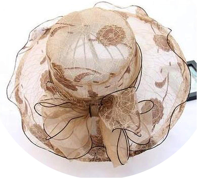 Elegant Silk Lace Sea Hat Bling Dot Church Hats Bow Flower Sun Hats Wedding Wide Brim