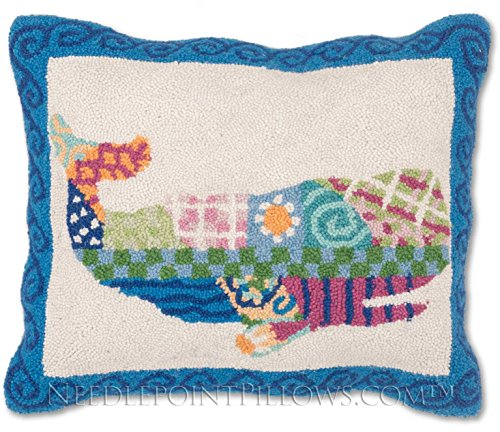 Nantucket Nautical Throw (Handmade 100% Wool Decorative Patchwork Coastal Ocean Beach Nautical Nantucket Whale Throw Pillow. 16