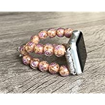 Murano Glass Stones Bracelet For Apple Watch Series 1 2 & 3 (38mm) Handmade Tropical Coral Color Venice Glass Rose Design Beads Apple Watch Band Luxury Jewelry Adjustable 7 inches Size Wristband