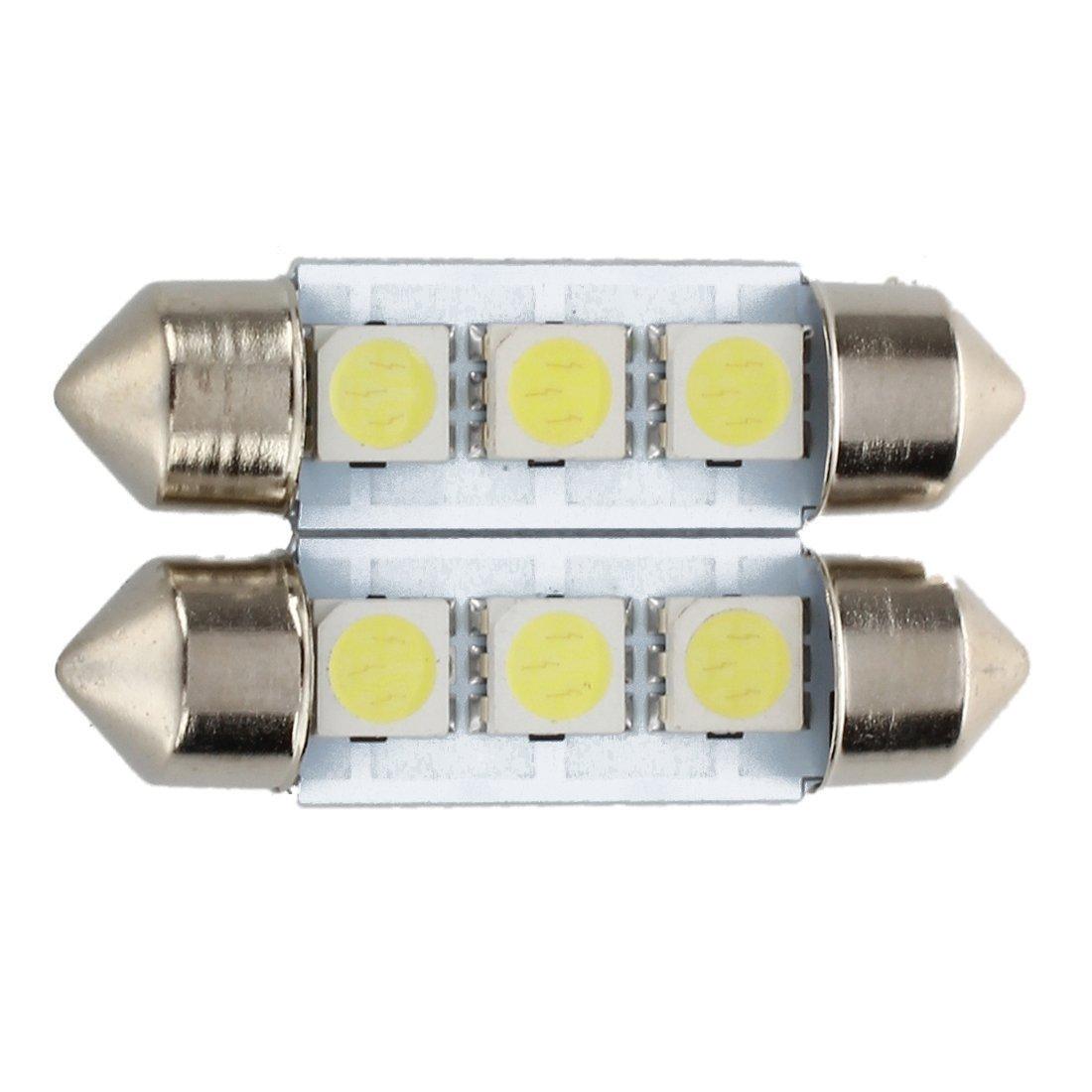 TOOGOO(R) 2x C5W 3 LED SMD 5050 34mm Plaque Xenon Blanc Ampoule navette Festons dome plafonnier voiture lumiere 4333231567