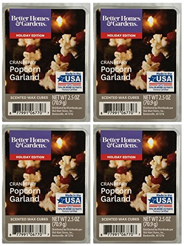 Popcorn Garland Cranberry - Better Homes and Gardens Cranberry Popcorn Garland Scented Wax Cubes - 4-Pack