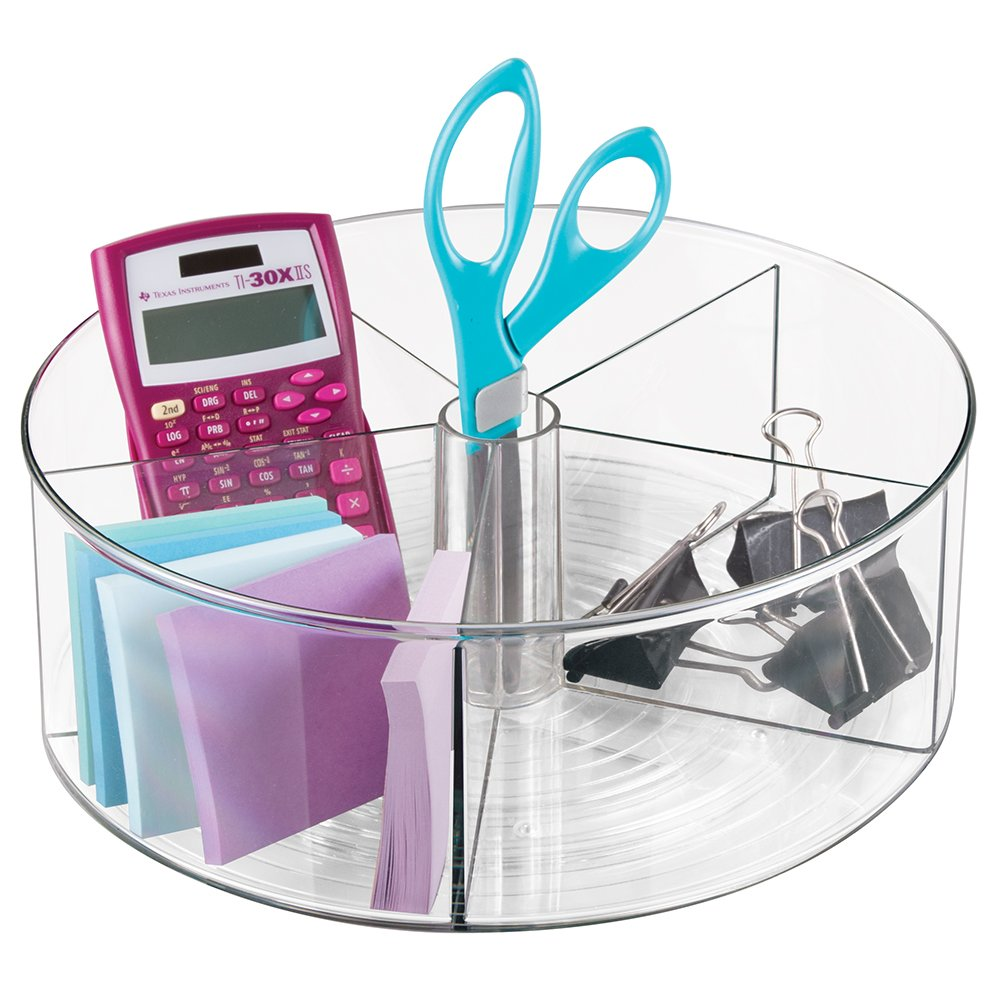 Spinning Office Supplies Desk Organizer Bin with Dividers for Scissors, Pens, Sticky Notes, Markers, Highlighters - Clear