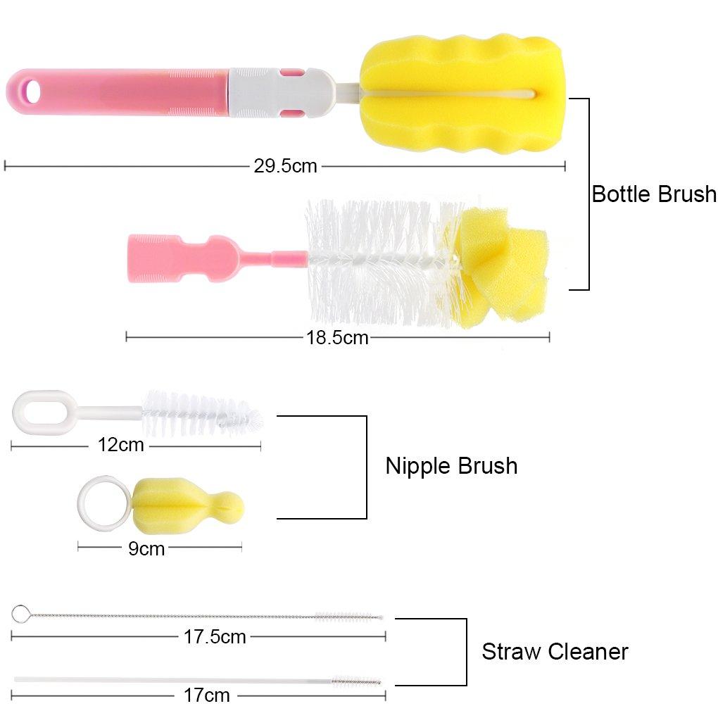 Uzinb 6 en 1 Kit de Limpieza de la Botella Cepillo de Limpieza de Cepillo de Esponja Tazas Deportes del Biber/ón Beb/é pez/ón pajas