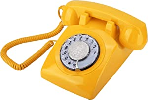 ASHATA Retro Telephone,Retro Rotary Dial Vintage Telephone Corded Analog Landline Telephone Desk Phone,Classic Home Telephone Landline Telephone Rotate for Bedroom/Office(Yellow)