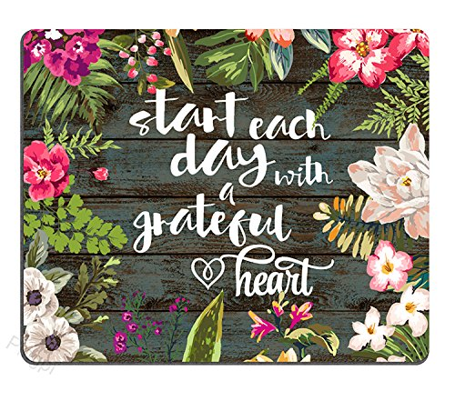 Pingpi Gaming Mouse Pad Custom, Start Each Day with A Grateful Heart Wood Signs with Sayings,Personalized Design Non-Slip Rubber Mousepad
