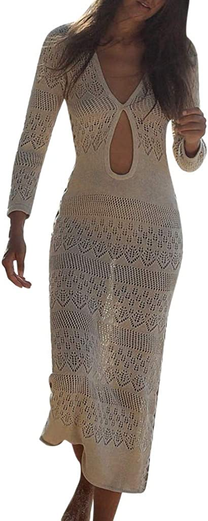 QueenMMWomens Cut Out Swimsuit Cover Ups Beach Bikini Bathing Suit Knit Cover Up Crochet Sunscreen Dresses