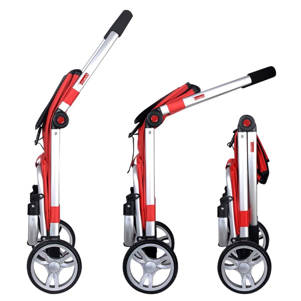 黒のショッピングトロリー軽量2ホイール大容量ショッピングトロリーバッグは、サポートバーとジッパーポケット付きのモビリティを支援47.5 X 39 X 100センチメートル (色 : Red)  Red B07JVWJPDY