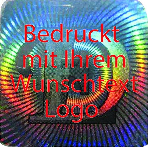 EtikettenWorld BV, EW-H-M178-tr-700, 700 Stück Hologrammaufkleber, 3D, 12x12mm silberfarbige Metallfolie, bedruckt in rot mit Ihrem Wunschtext Logo, Hologramm Etiketten, selbstklebend, Hologramm Aufkleber, Sicherheitssiegel, Garantiesiegel, Garantiea