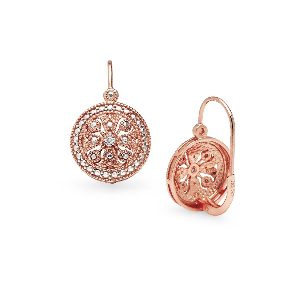 Sterling Silver Round Filigree Medallion Diamond Accent Leverback Drop  Earrings, IJ-I3