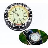 Soondar Bike Clock, Bike Mountain Cycling Bicycle CNC Aluminum Alloy Stem Top Cap Headset with Clock, Black
