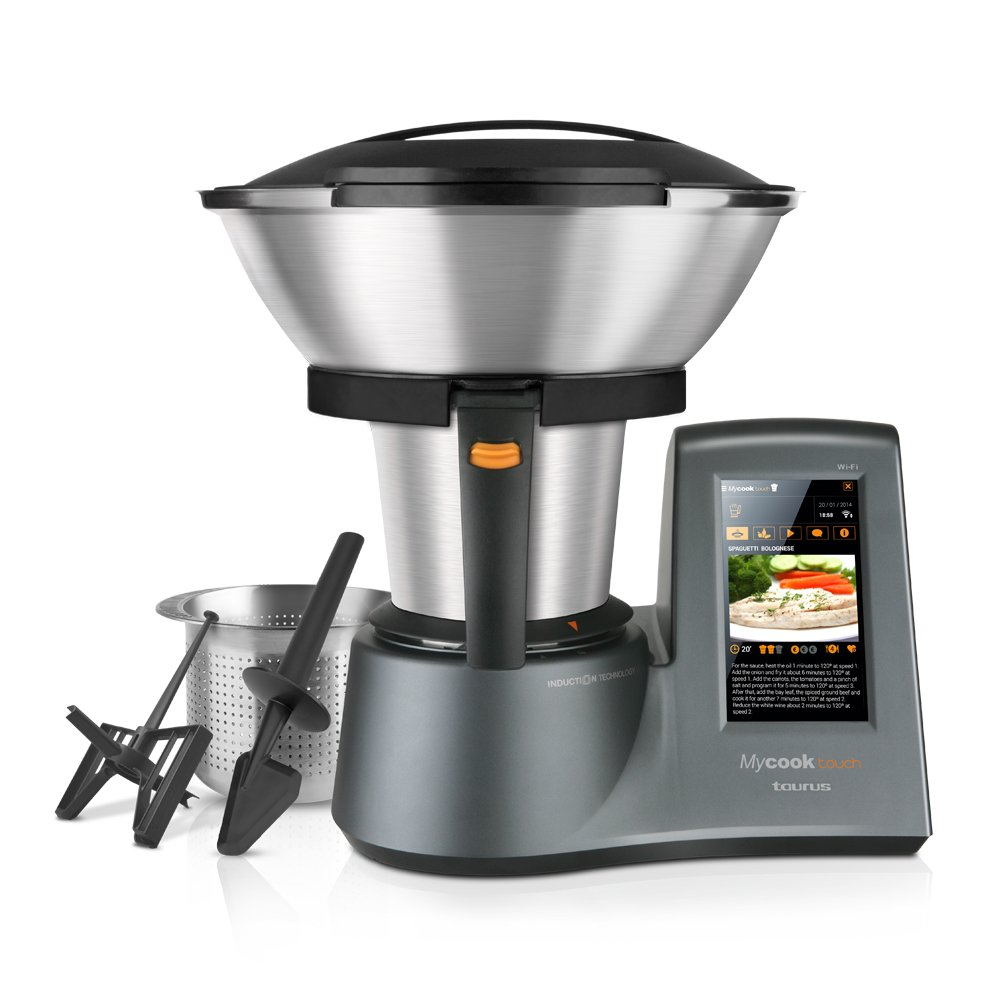 Taurus Mycook Touch – Robot de cocina por inducción de 40 a 140º C, pantalla táctil de 7″, 10 velocidades y cuatro funciones especiales, 1600 W, Acero Inoxidable