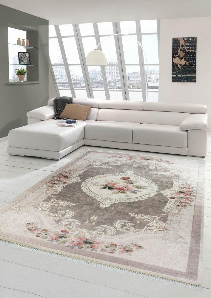 M/érinos Tapis Fleurs Salon Tapis Lavable en Beige Rose Gr/ö/ße 80x150 cm