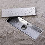 KES SUS304 Stainless Steel Shower Floor Drain with Removable Cover 11.8-Inch Long, Brushed Finish, V220S30