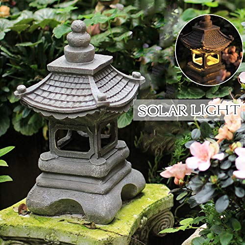 zenggp Japanese Style Solar Zen Garden Lights Lantern Pagoda Light Solar Garden Lamp Statue by zenggp (Image #1)