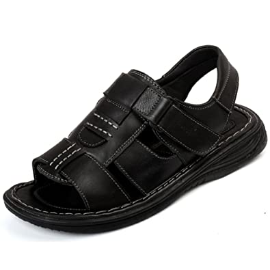 ed8873ef8908a3 Mobnau Men s Leather Fashion Walking Beach Sandals Black 40 6.5 D(M) US