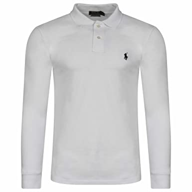 252071057 Ralph Lauren Men's Polo Shirt. Long Sleeve. Small Pony. Custom Fit (White,  L): Amazon.co.uk: Clothing