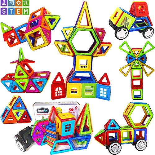 Magnetic Construction Toy - LearnFun 56 Pieces Strong Magnetic Building Block Set | Colorful 3D Construction Tiles for Children | Best Educational, Learning Preschool Creativity Kit STEM Toys for Toddlers, Kids, Girls and Boys