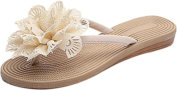 Alaso Tongs Plateforme Sandales Eté Femme Fille Talon Plates Flip Flops Chaussures de Plage Bohème Pantoufles Claquettes Pas Cher Chic