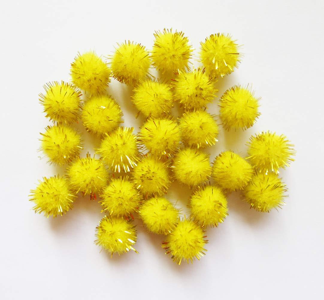 YYCRAFT 15pcs Jumbo Glitter Tinsel Pom Poms Sparkle Balls for DIY Craft,Cat Toys-Orange 2