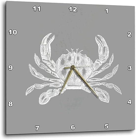 3dRose dpp_164906_1 Gray Maryland Crab Vintage Illustration. Grey Nautical Sea Ocean Beach-Wall Clock, 10 by 10-Inch