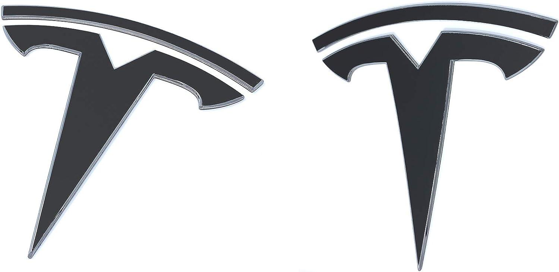 Amazon Com Custom Cut Graphics Tesla Model Y Logo Decal Wrap 4 Pc Set Matte Black Automotive