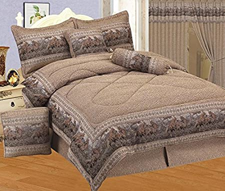 7 - Piece Neutral Brown Tapestry Style Wild Horse Western Bed in A Bag Full Size Bedding - Lodge, Cabin, Home, RV, Children's Room, Master Bedroom, Guest Room Children's Room
