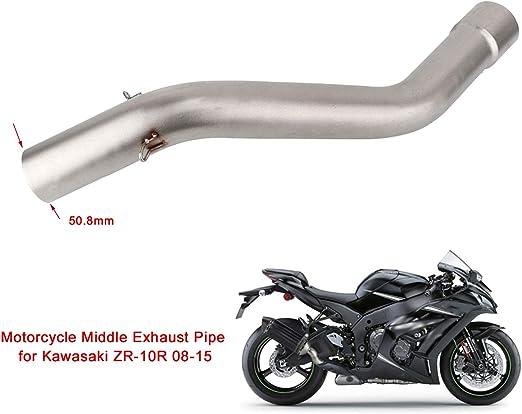Kimiss Edelstahl Motorrad Auspuffrohr Motorrad Modifikation Auspuff Mittleren Verbindungsrohr Schalldämpfer Für Zx 10r 08 15 Auto