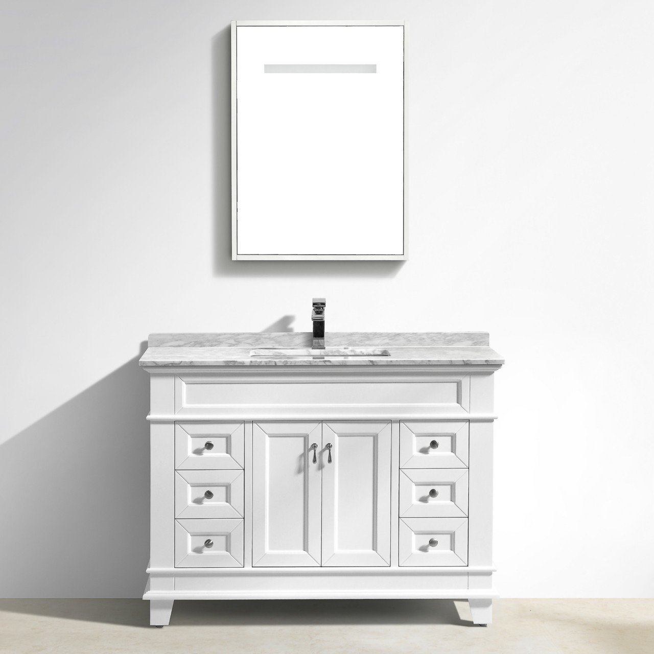 Faye Bathroom Vanity With Carrara Marble Top 48 Inch White