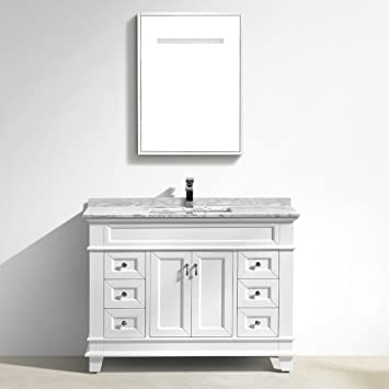 Marco Single Bathroom Vanity With Carrara Marble Top 48 White