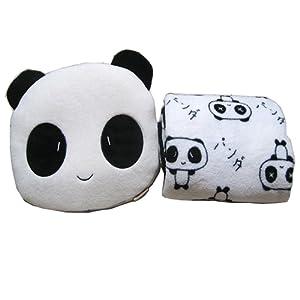 niceEshop(TM) Mignon Panda Velours Corail Oreiller en Peluche Polaire des Lancers et Un Ensemble de Couverture (noir Blanc)