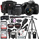 Canon EOS Rebel T7i DSLR Camera with EF-S 18-55mm f/4-5.6 Lens and 2X Professional 32GB, 58mm Telephoto & Wide-angle Lens, Filters, Tripods, Flash, Remote, Xpix Lens Accessories