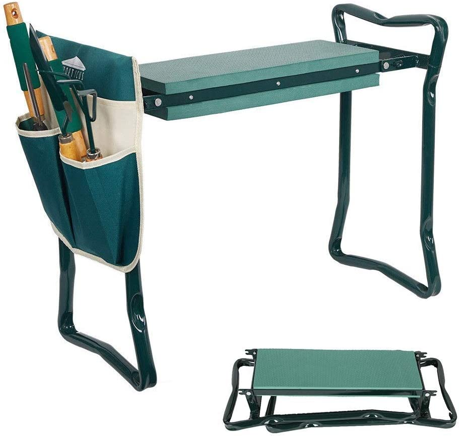 Dporticus 2 in 1 Foldable Gardening Kneeler Seat Bench Portable Stool with EVA Kneeling Pad and Pouches