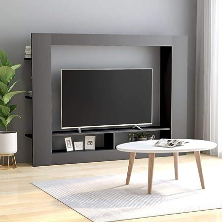 UnfadeMemory Mueble para TV Moderno,Soporte del Televisor,Mueble de Hogar,con Estantes Laterales,Madera Aglomerada,152x22x113cm (Gris): Amazon.es: Hogar