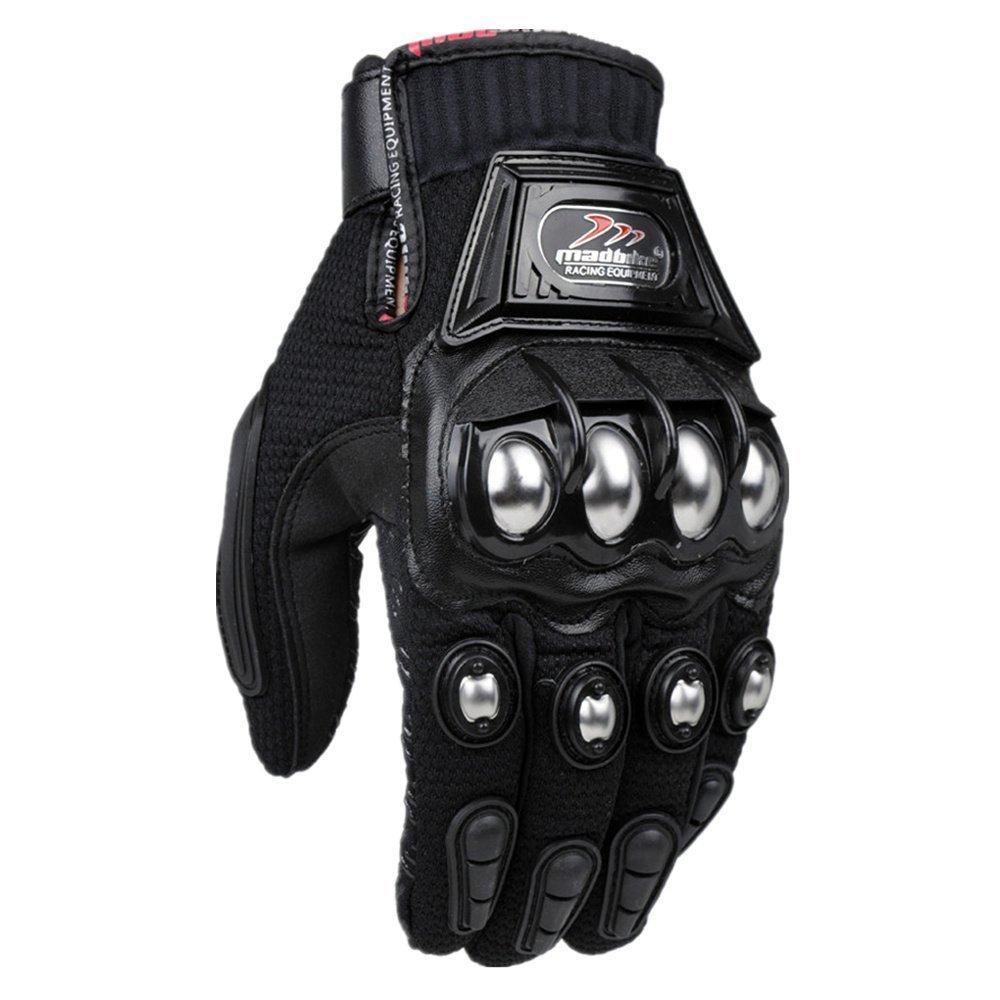 oubaiya Steel Outdoor Reinforced Brass Knuckle Motorcycle Motorbike Powersports Racing Textile Safety Gloves (Black, XX-Large) by oubaiya (Image #3)