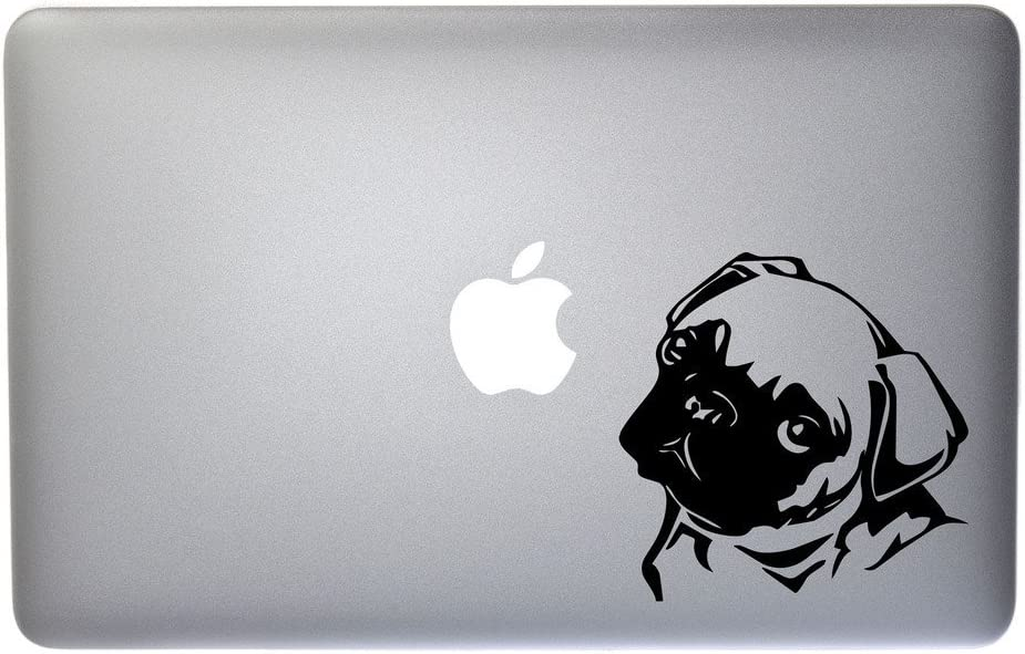 Cute Little Pug Puppy Vinyl Decal for MacBook, Laptop or Other Device 5 Inch (Black)