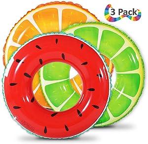 Fruit Pool Float, Watermelon Orange Lemon Swim Tube Ring, Inflatable Swim Pool Party Inner Tube for Kids, 3 Style Summer Pool Toy for Fun