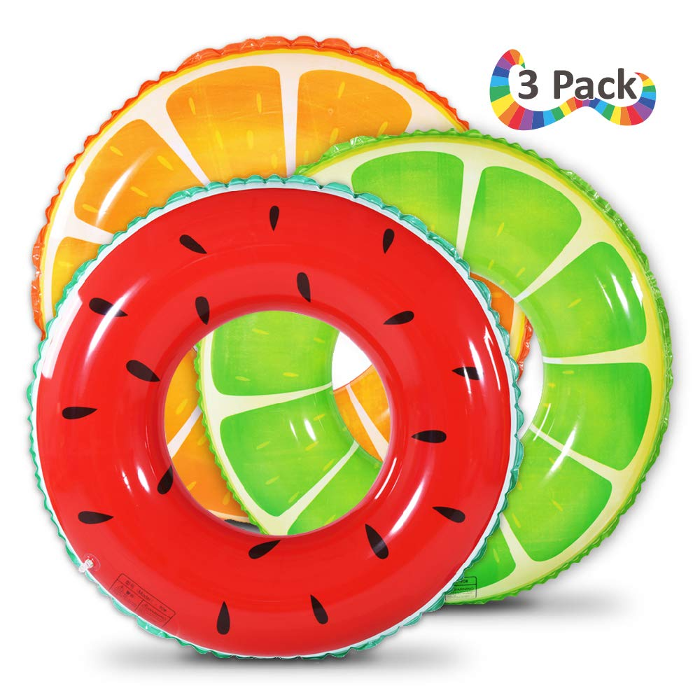 Fruit Pool Float, Watermelon Orange Lemon Swim Tube Ring, Inflatable Swim Pool Party Inner Tube for Kids, 3 Style Summer Pool Toy for Fun by WateBom