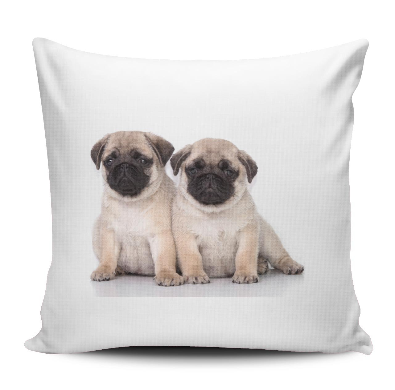 Dise/ño 018 Funda de coj/ín//Funda de almohada de sat/én 40 x 40 cm CARLINO de dos cachorros de lado